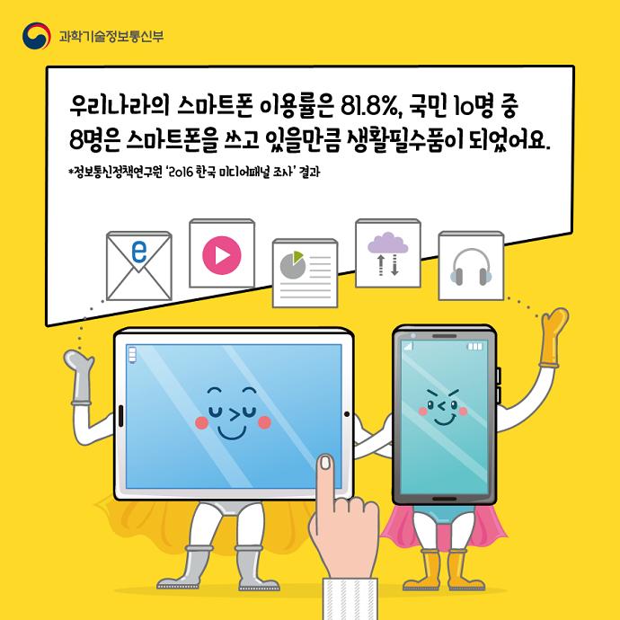 우리나라의 스마트폰 이용률은 81.8%, 국민 10명 중 8명은 스마트폰을 쓰고 있을만큼 생활필수품이 되었어요.