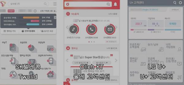 장식용 이미지, 각 통신사별 모바일 고객센터 화면 캡쳐.