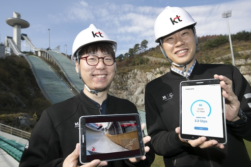 ▶ '평창 5G 규격' 기반 삼성전자 5G 단말과 KT의 5G 시범망 연동해 영상 전송 성공 ▶ KT, 5G 단말을 평창에 구축된 5G 시범망과 연결 위해 수개월 간 연동 테스트 진행