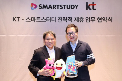 KT는 스마트스터디㈜ 와 서울 종로구 KT 광화문 사옥에서 KT 기가지니사업단장 이필재 전무, 스마트스터디 이승규 글로벌사업본부장 등 양사 주요 임원들이 참석한 가운데 '키즈 테크(Tech) 및 콘텐트 사업 협력을 위한 업무협약(MOU)'을 체결했다고 5일 밝혔다.