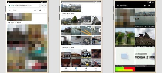 구글 포토에 업로드 또는 백업한 모든 사진과 비디오는 구글 포토 웹사이트, 구글 포토 애플리케이션, 구글 포토을 통해 확인할 수 있다고 각각의 이미지를 보여줌