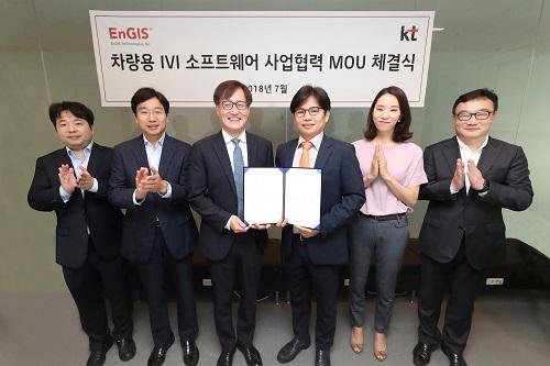 KT와 엔지스테크널러지가 서울 종로구 KT 광화문빌딩 이스트에서 '차량용 인포테인먼트 솔루션' 공동 개발을 위한 업무협약을 체결한다고 5일 밝혔다.