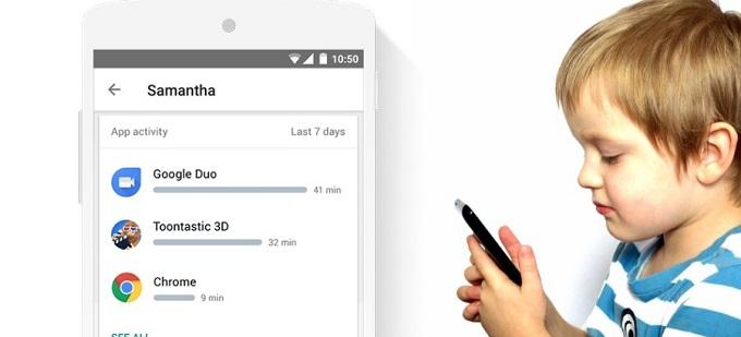 구글 패밀리 링크에서 자녀의 안드로이드 디바이스의 앱 목록을 확인할 수 있는 스마트폰 화면