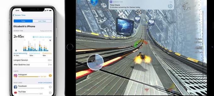 애플 스크린 타임 - 자녀의 웹사이트 체류시간을 확인하는 스마트폰 화면