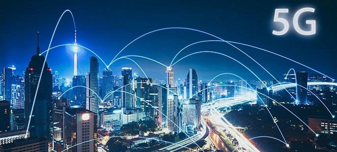 건물과 건물을 연결하는 5G 네트워크 관련 이미지