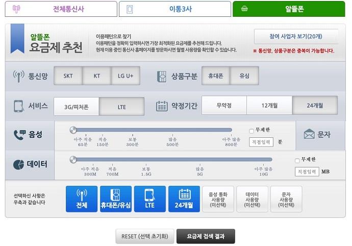 스마트초이스 알뜰폰 요금제 추천 서비스 검색조건 입력화면 - 통신망(SKT,KT,LGU+), 상품구분(유심, 휴대폰), 서비스(3G/피쳐폰, LTE), 약정기간(무약정, 12개월, 24개월), 음성/문자/데이터 사용량 입력항목이 있습니다.