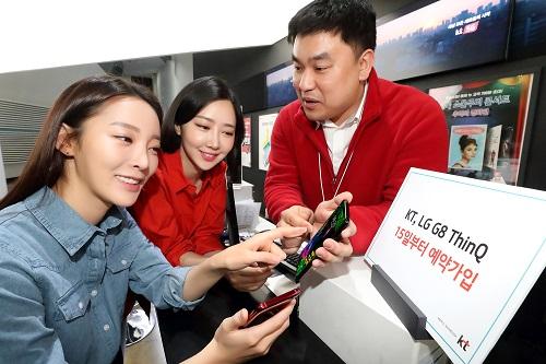 KT가 오는 15일부터 21일까지 전국 KT 매장 및 공식 온라인채널 KT샵에서 LG전자 플래그십 스마트폰 'G8 씽큐(ThinQ)' 사전예약을 진행한다고 밝혔다.