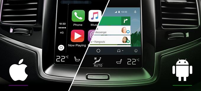 지원 차종의 헤드 유닛에 스마트폰을 USB로 연결한 차량의 디스플레이 화면이미지