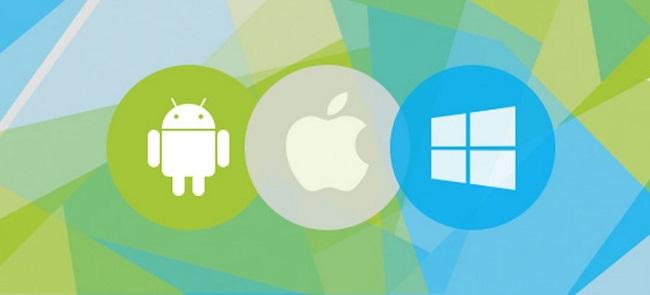 구글 안드로이드, 애픙 iPadOS, MS Windows 로고 이미지